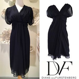100% Silk DVF Navy Blue Chiffon Grecian Dress